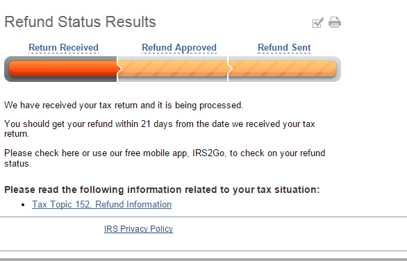 IRS Where's My Refund Status Bars Disappeared - IRS Refund Schedule